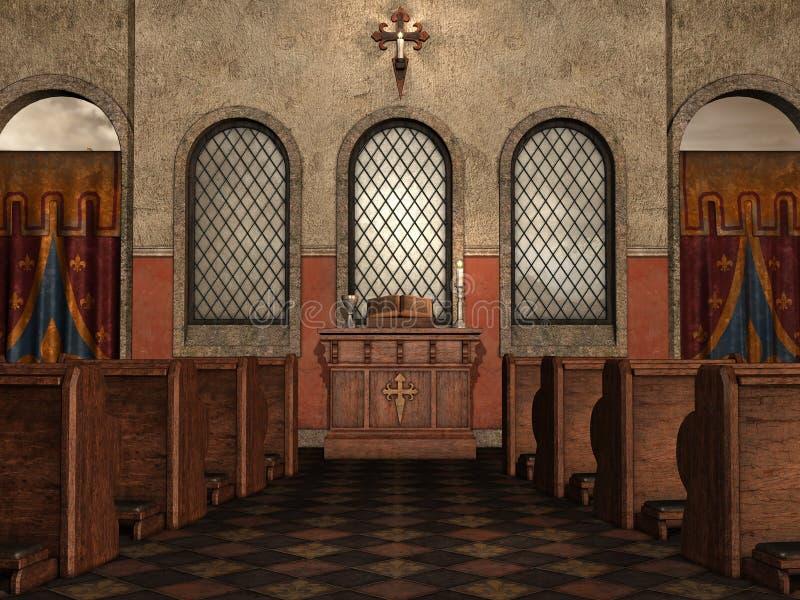 Middeleeuws kerkbinnenland royalty-vrije illustratie