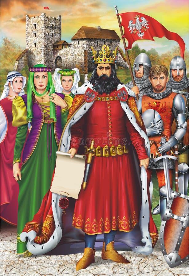 Middeleeuws Koning en Gevolg royalty-vrije illustratie