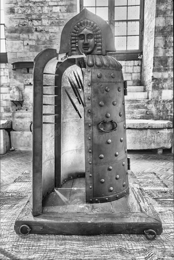 Middeleeuws martelingsinstrument in een museum in Gubbio, Italië royalty-vrije stock foto