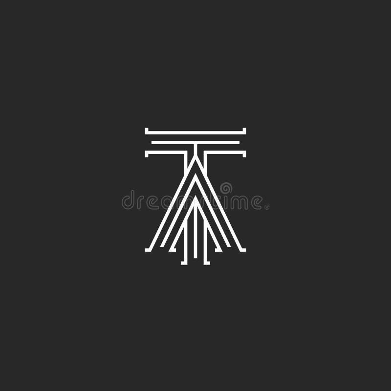 Middeleeuws monogramta Embleem, met elkaar verbonden initialen T en van de de hoofdletterskruising van A element van het de lijne vector illustratie