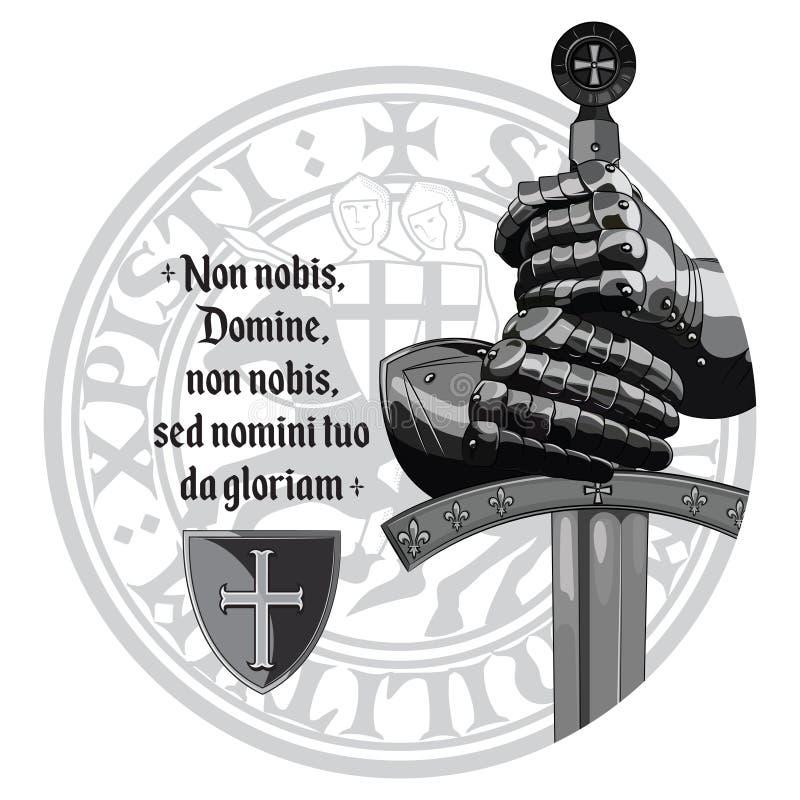 Middeleeuws Ontwerp De handschoenen van kruisvaardersridders, zwaard, Templars-verbinding en het gebed van de Kruisvaarder royalty-vrije illustratie