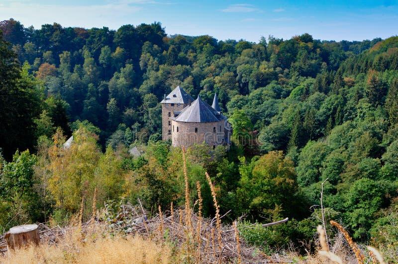 Middeleeuws Reinhardstein-vestingwerk Eupen, België royalty-vrije stock afbeeldingen