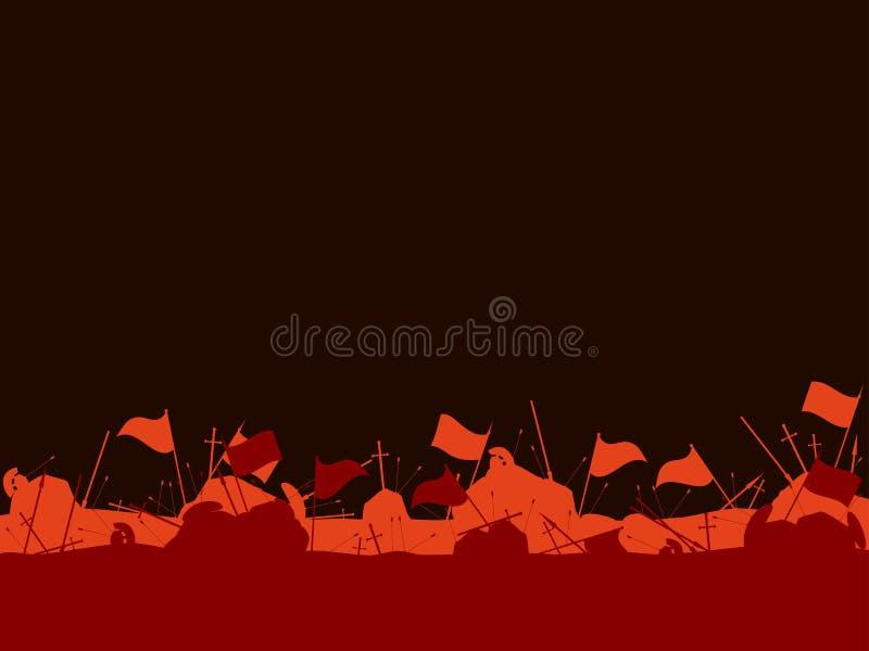 Middeleeuws slagveld Na de slag Vlaggen, zwaarden, spears stock illustratie