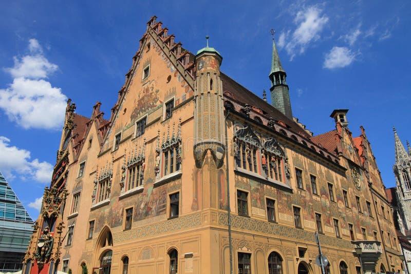 Middeleeuws stadhuis van Ulm stock foto's