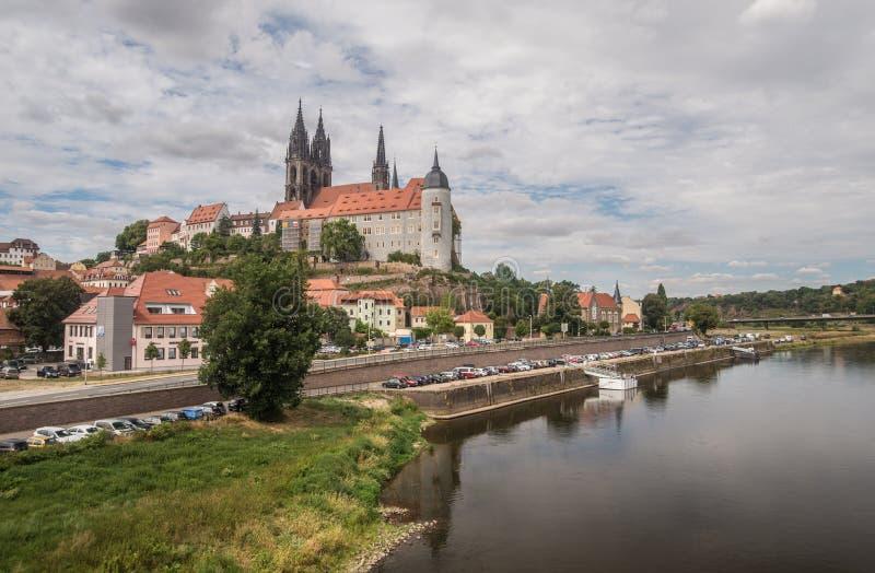 Middeleeuws stadspanorama van Bautzen, oostelijk Duitsland royalty-vrije stock fotografie