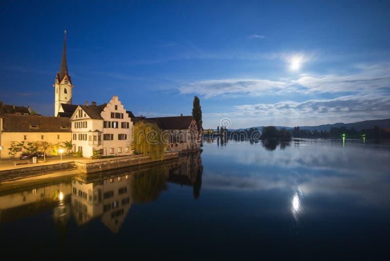 Middeleeuws Stein am Rhein, Zwitserland bij Nacht stock fotografie