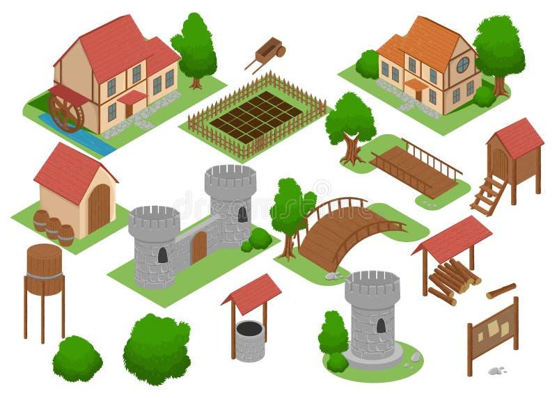 Middeleeuws Strategisch androïde het videospelletjeinzicht van de huistegel online Het elementen Isometrische Vlakke Middeleeuwse royalty-vrije illustratie