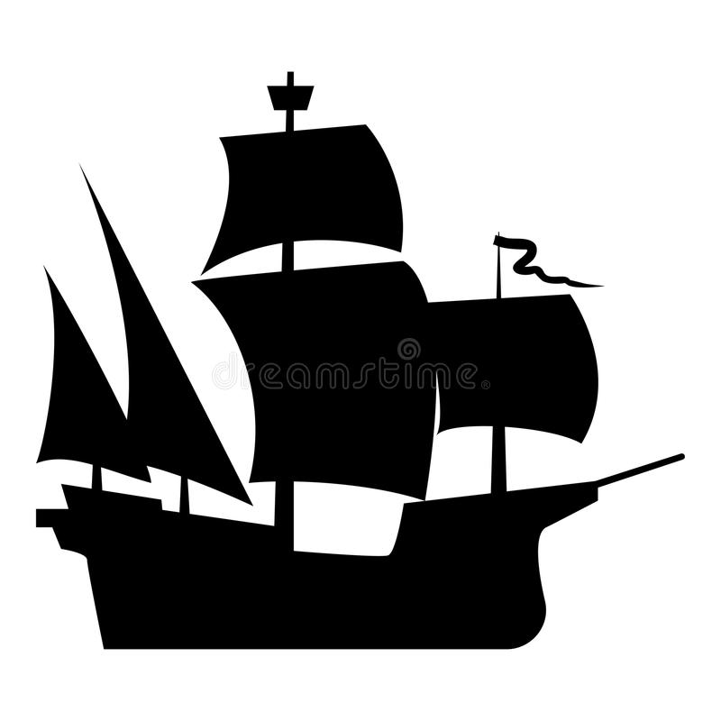 Middeleeuws van de de kleurenillustratie van het schippictogram zwart vlak de stijl eenvoudig beeld vector illustratie
