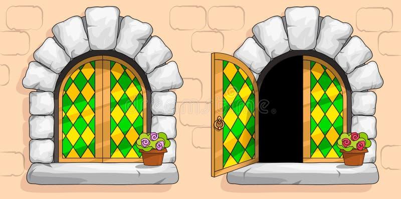 Middeleeuws venster, groen gebrandschilderd glas, witte stenen royalty-vrije illustratie