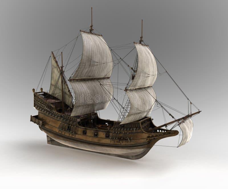 Middeleeuws zeilschip stock illustratie