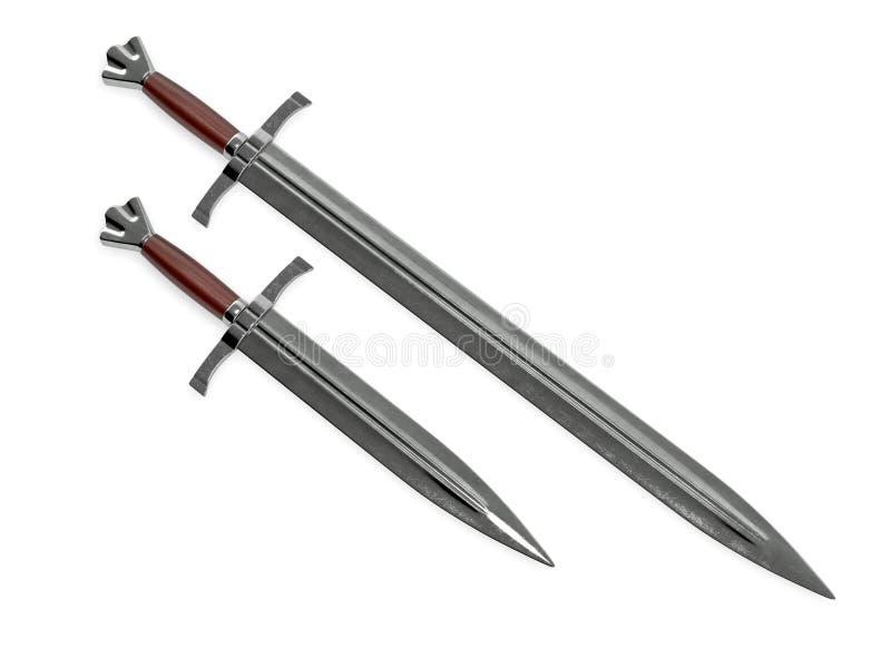 Middeleeuws zwaard met dolk het 3d teruggeven stock afbeeldingen