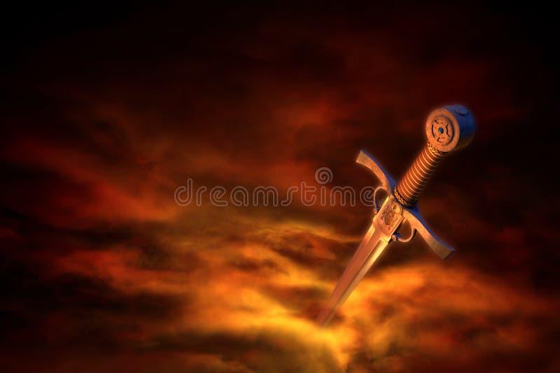 Middeleeuws zwaard in rook stock illustratie