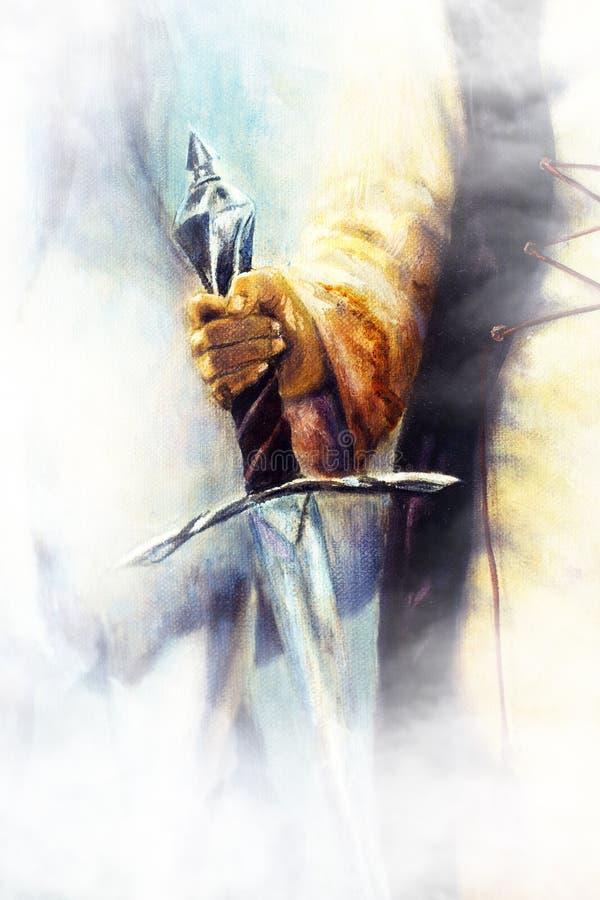 Middeleeuws zwaard in vrouwenhand op kleur het schilderen achtergrond royalty-vrije illustratie