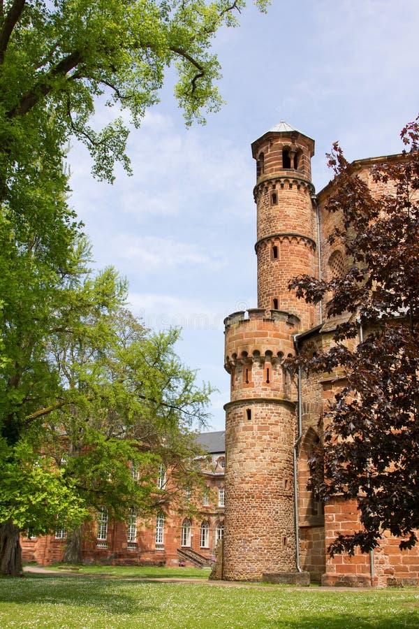 Middeleeuwse abdij bij mettlach, Saarland stock afbeelding