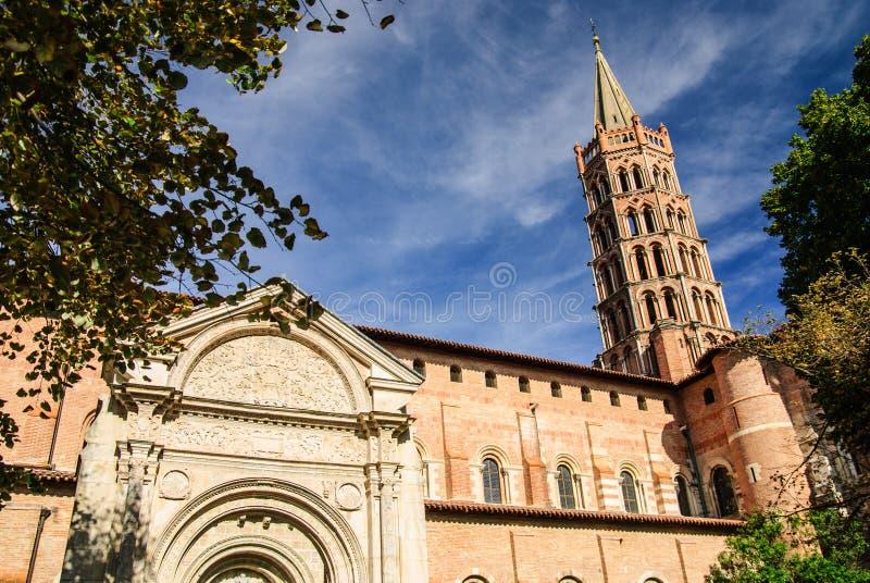 Middeleeuwse Basiliek van Heilige Sernin, Toulouse, Frankrijk stock foto's