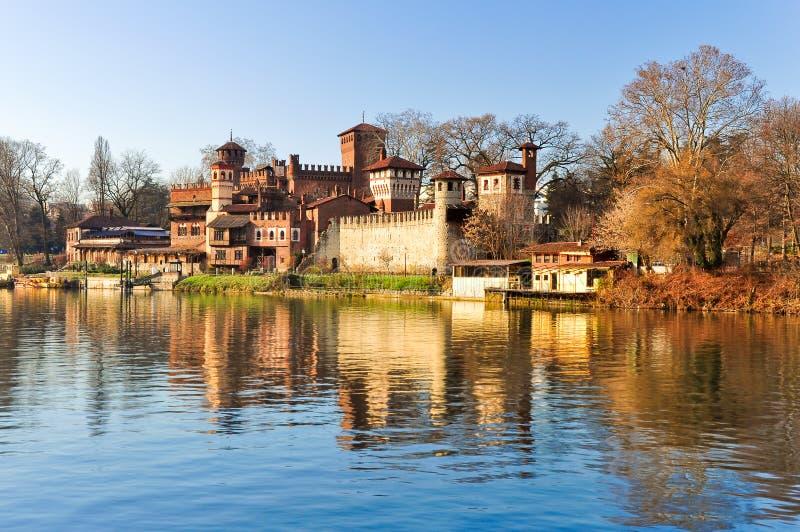 Middeleeuwse Castel in Turijn stock foto