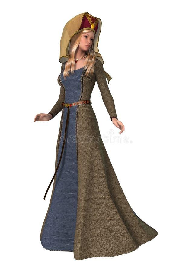 Middeleeuwse dame royalty-vrije illustratie