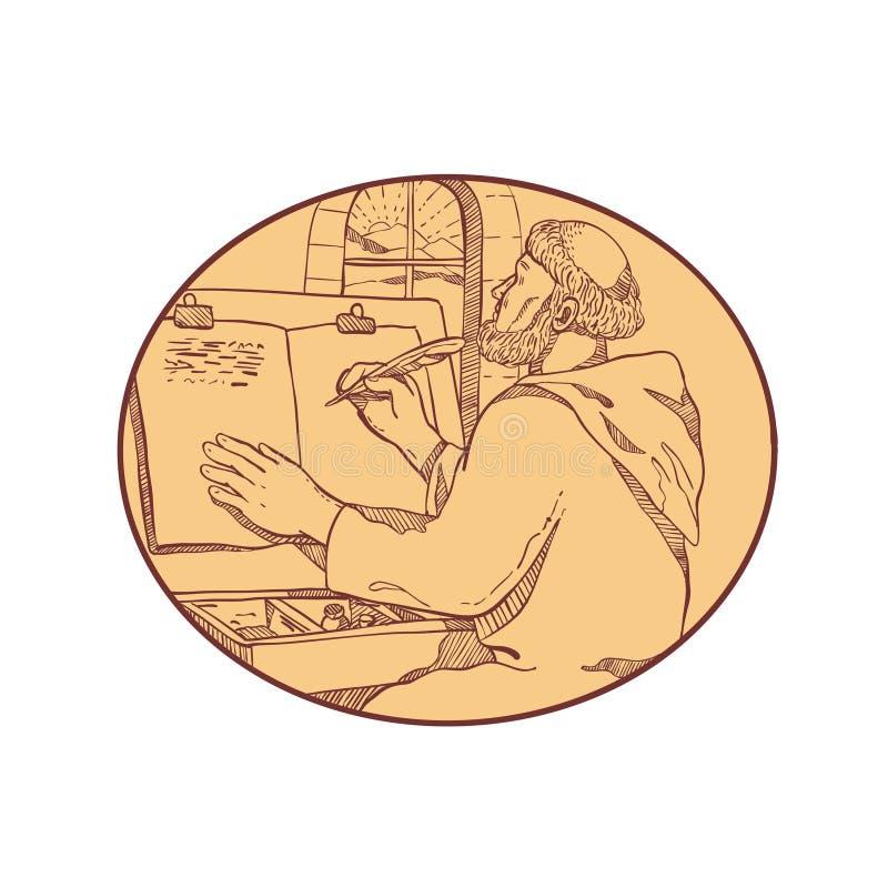 Middeleeuwse de Tekeningskleur van Monnikswriting illuminated manuscript vector illustratie