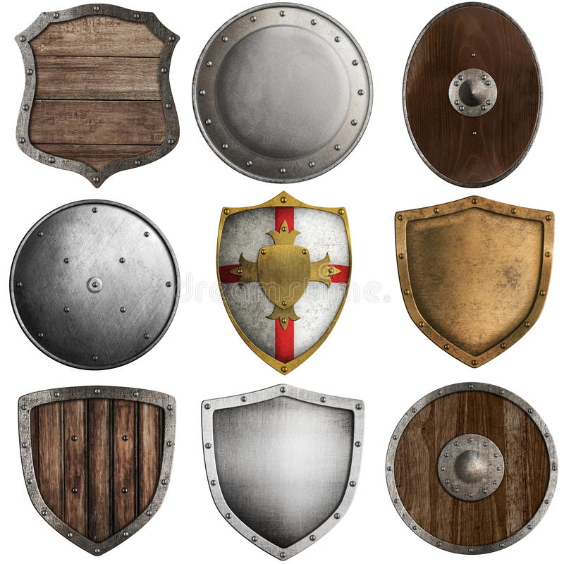 Middeleeuwse die schildeninzameling op wit wordt geïsoleerd stock afbeelding