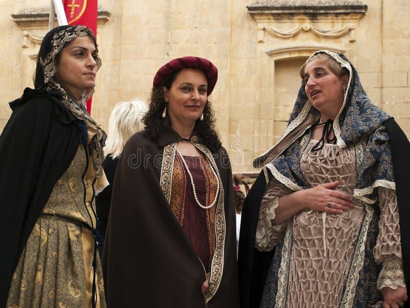 Middeleeuwse Edele Vrouwen stock afbeeldingen