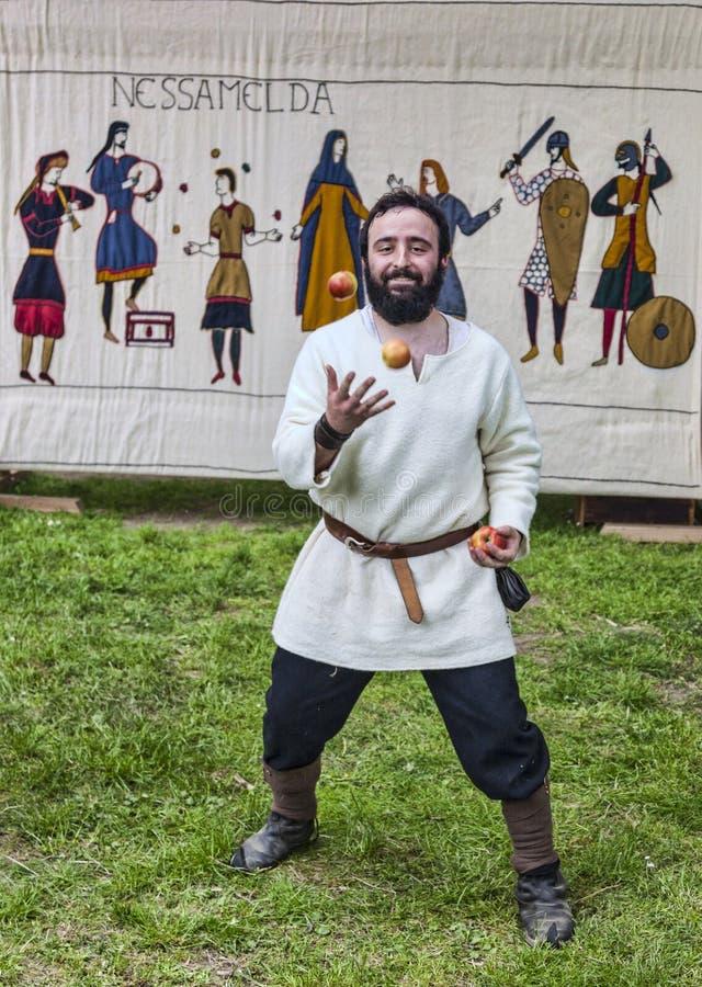 Middeleeuwse Entertainer stock foto