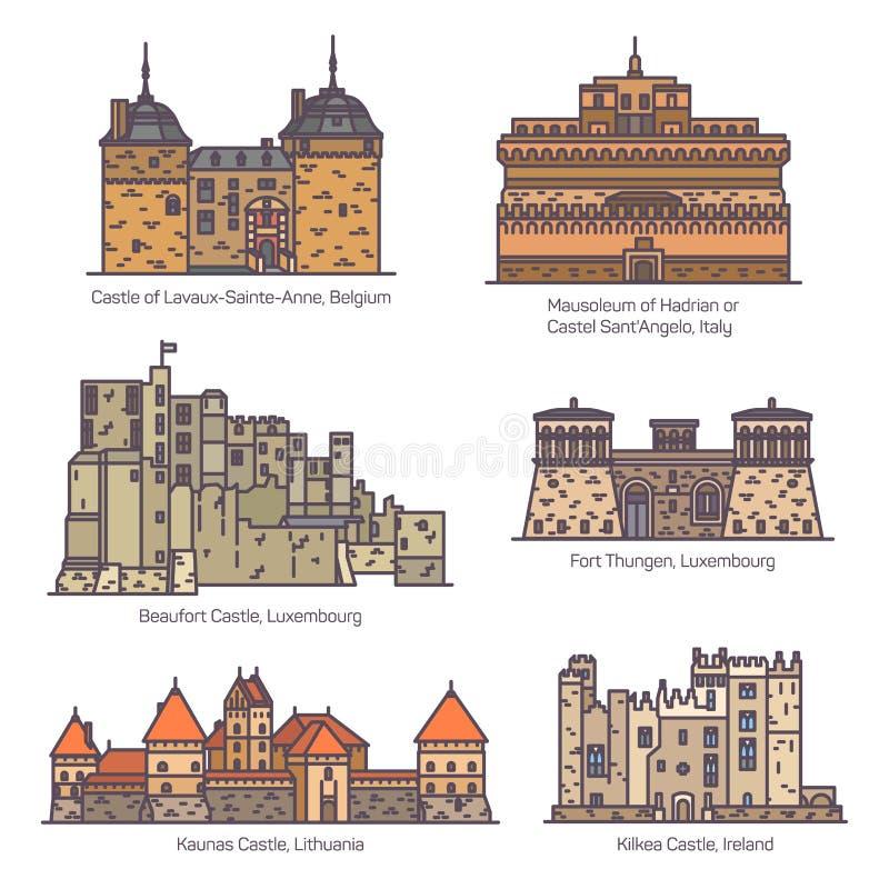 Middeleeuwse Europese kastelen en fortin in lijn, kleur royalty-vrije illustratie