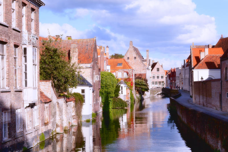 Middeleeuwse fairytalestad. royalty-vrije stock afbeelding