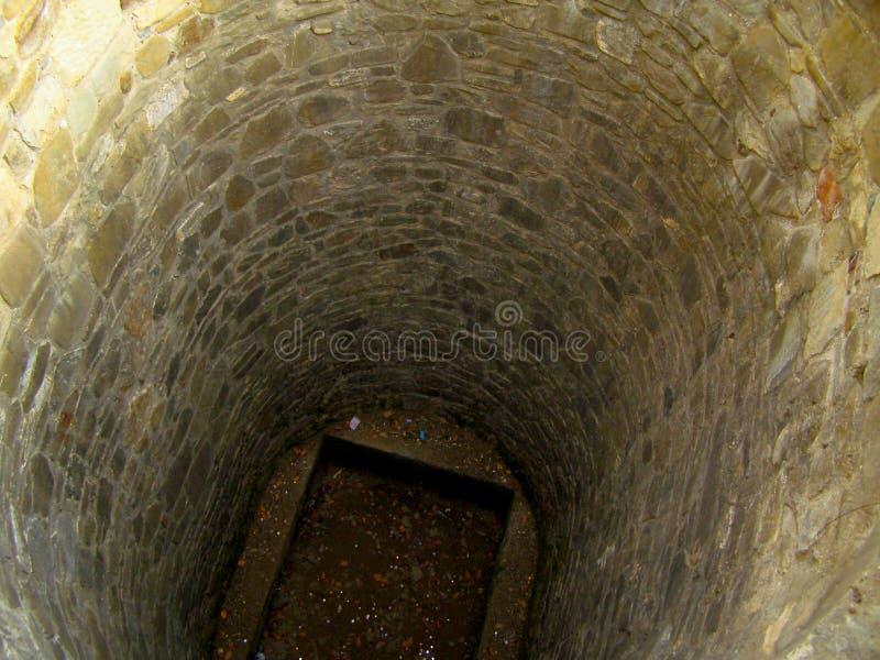 Middeleeuwse fontein waar het geld throvn binnen is stock foto's