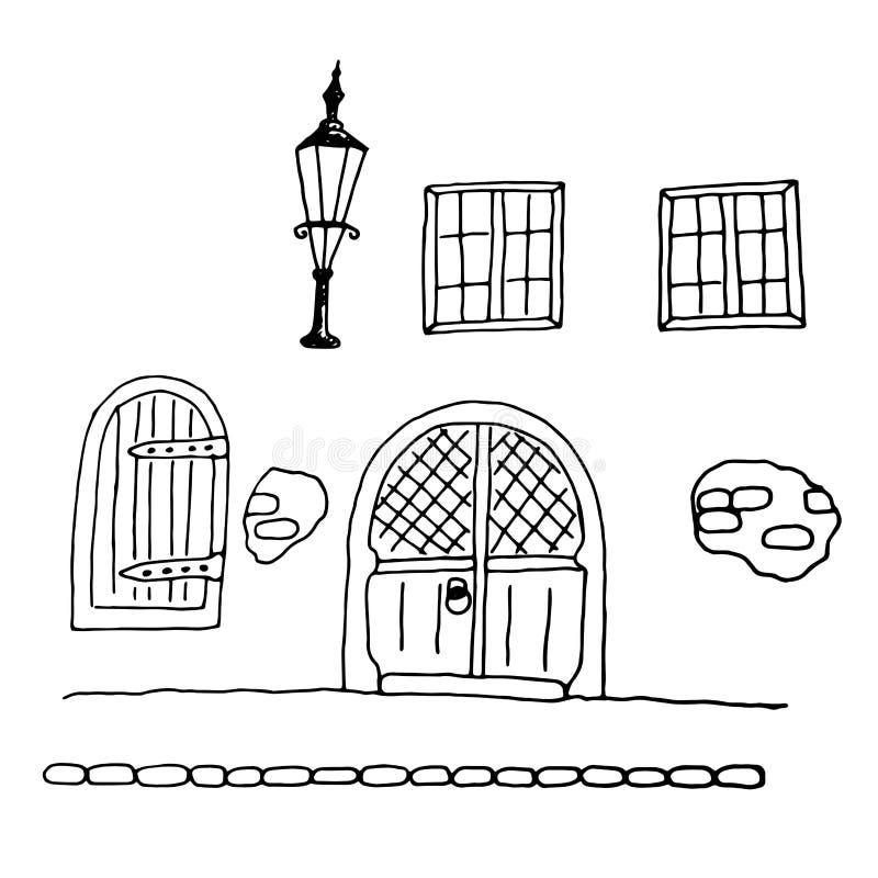 Middeleeuwse Geïsoleerde Rijtjeshuis BuitendieHand op Wit wordt getrokken stock illustratie