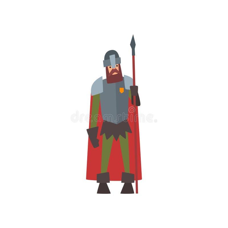 Middeleeuwse Gepantserde Ridder Warrior Character in Rode Kaap met Spear Vectorillustratie royalty-vrije illustratie