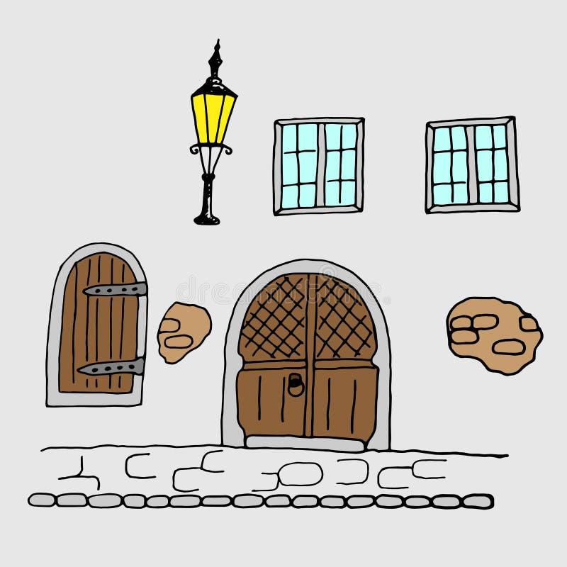 Middeleeuwse Getrokken Rijtjeshuis Buitenhand royalty-vrije illustratie