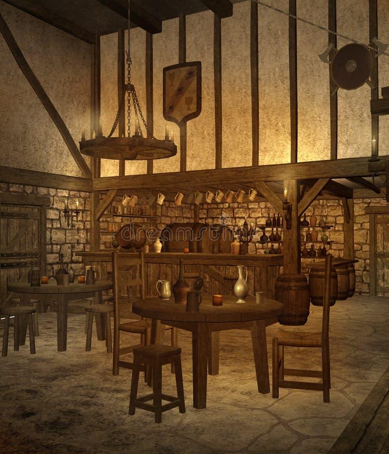 Middeleeuwse herberg 4 royalty-vrije illustratie