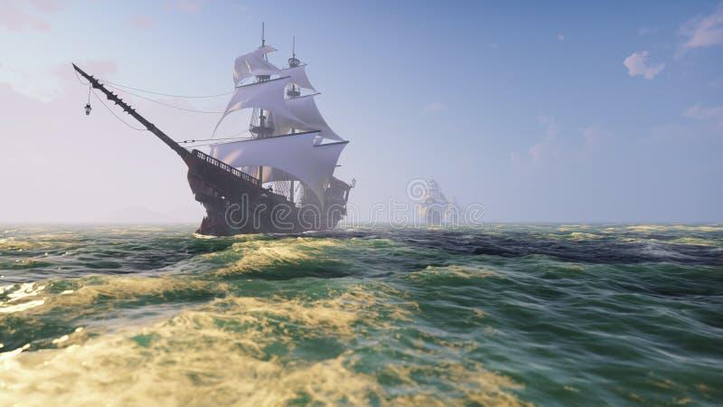 Middeleeuwse Houten boten op het overzees op een Zonnige dag Piraten die onderaan het overzees op een schip varen het 3d teruggev stock illustratie
