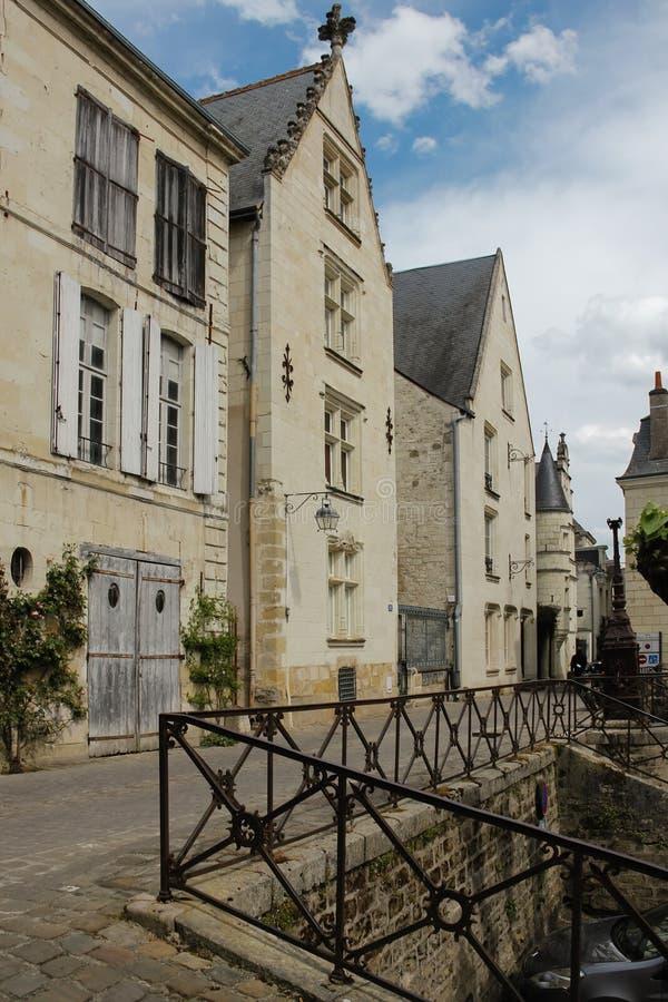 Middeleeuwse Huizen in de stad Chinon frankrijk stock foto