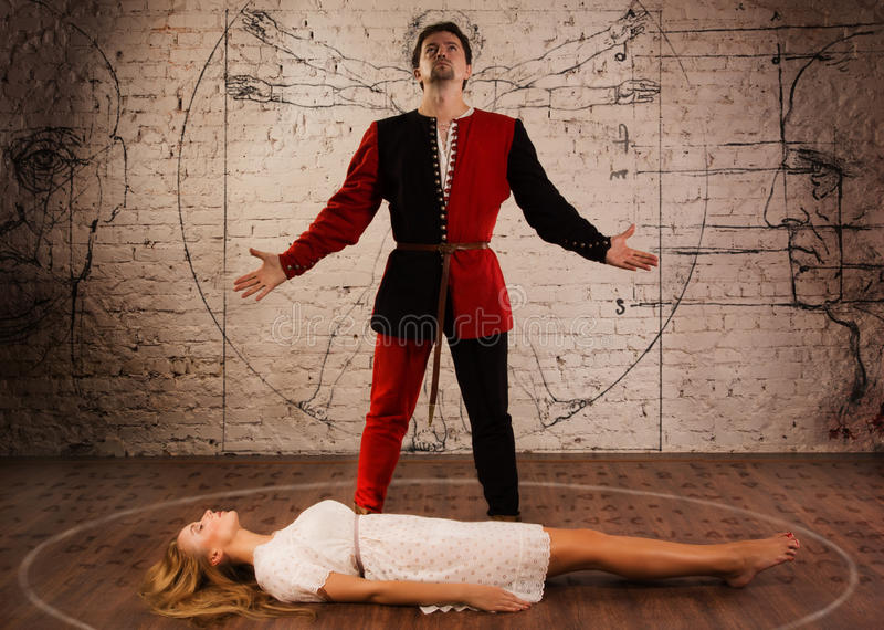 Middeleeuwse illusionist royalty-vrije stock fotografie