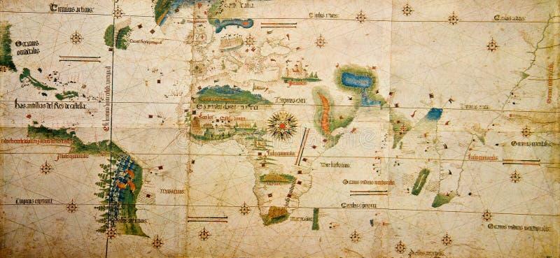 Middeleeuwse kaart van de wereld stock foto's