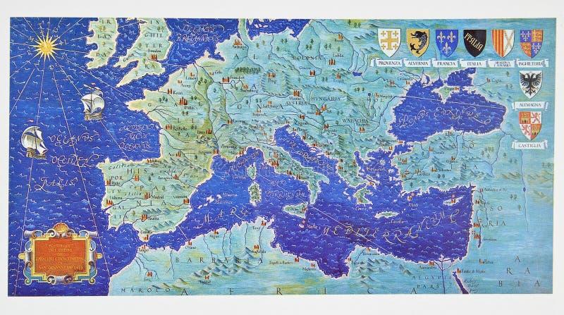 Middeleeuwse kaart van Europa royalty-vrije illustratie