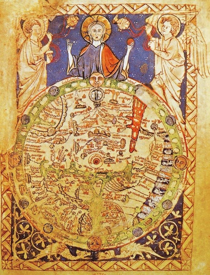Middeleeuwse kaart van Jeruzalem stock foto