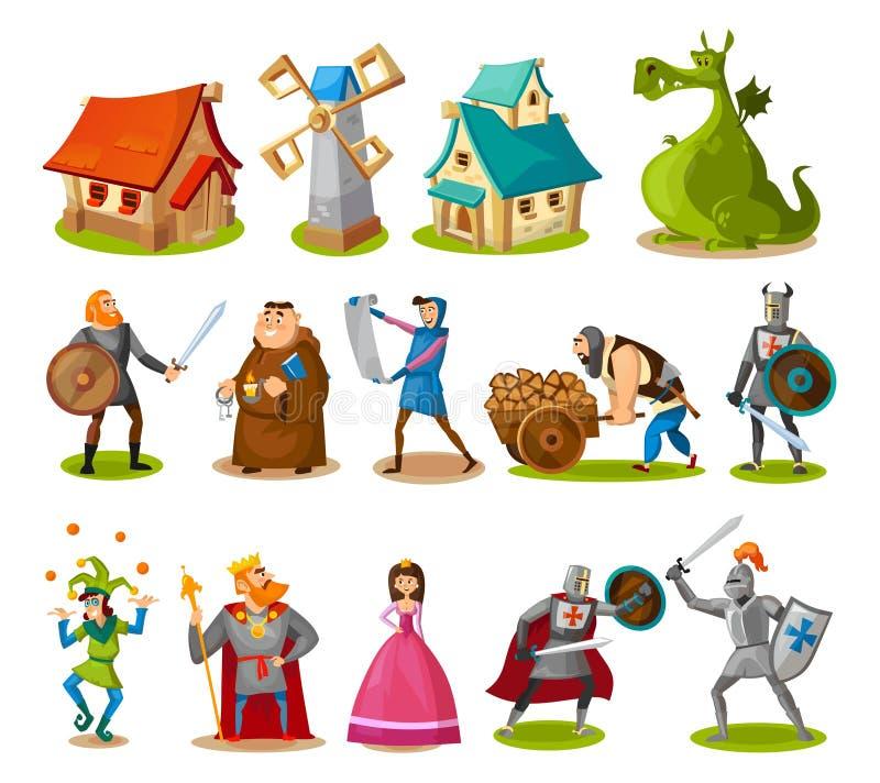 Middeleeuwse karakters en gebouweninzameling Beeldverhaalridders, prinses, koning, draak, gebouwen enz. Vectorsprookjevoorwerpen stock illustratie