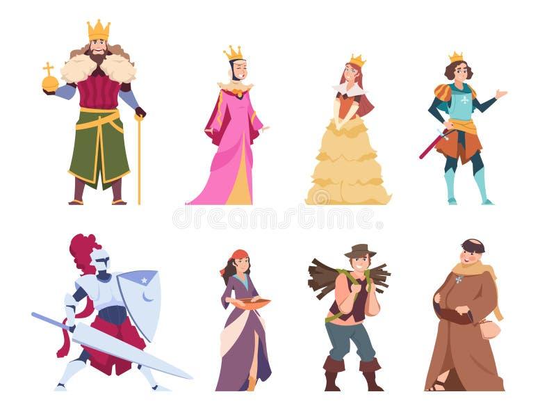 Middeleeuwse karakters Vlakke historische mensen, de prins van de koningskoningin en prinses koninklijke reeks Vectorbeeldverhaal vector illustratie
