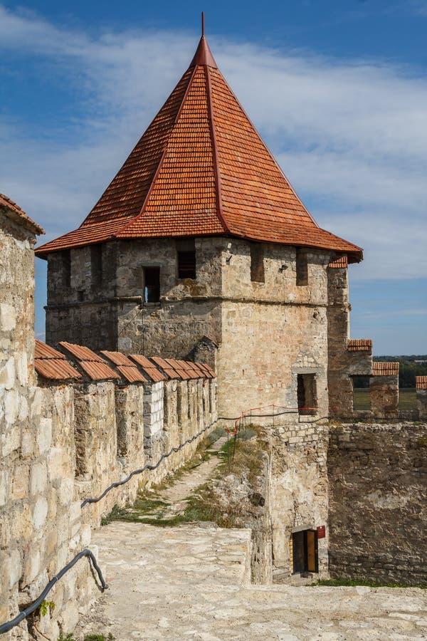 Middeleeuwse kasteelruïnes in Buigmachine, Transnistria royalty-vrije stock foto