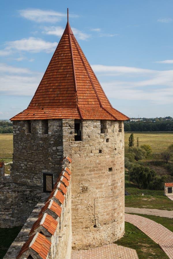 Middeleeuwse kasteelruïnes in Buigmachine, Transnistria stock fotografie