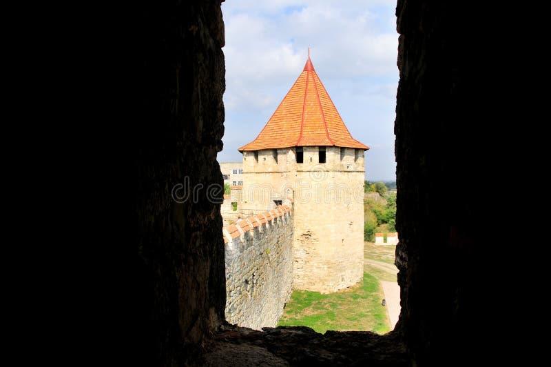 Middeleeuwse kasteelruïnes in Buigmachine, Transnistria, Moldavië royalty-vrije stock foto