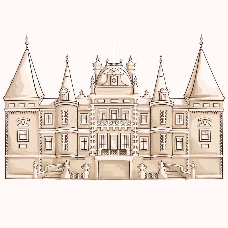 Middeleeuwse kasteelschets royalty-vrije illustratie