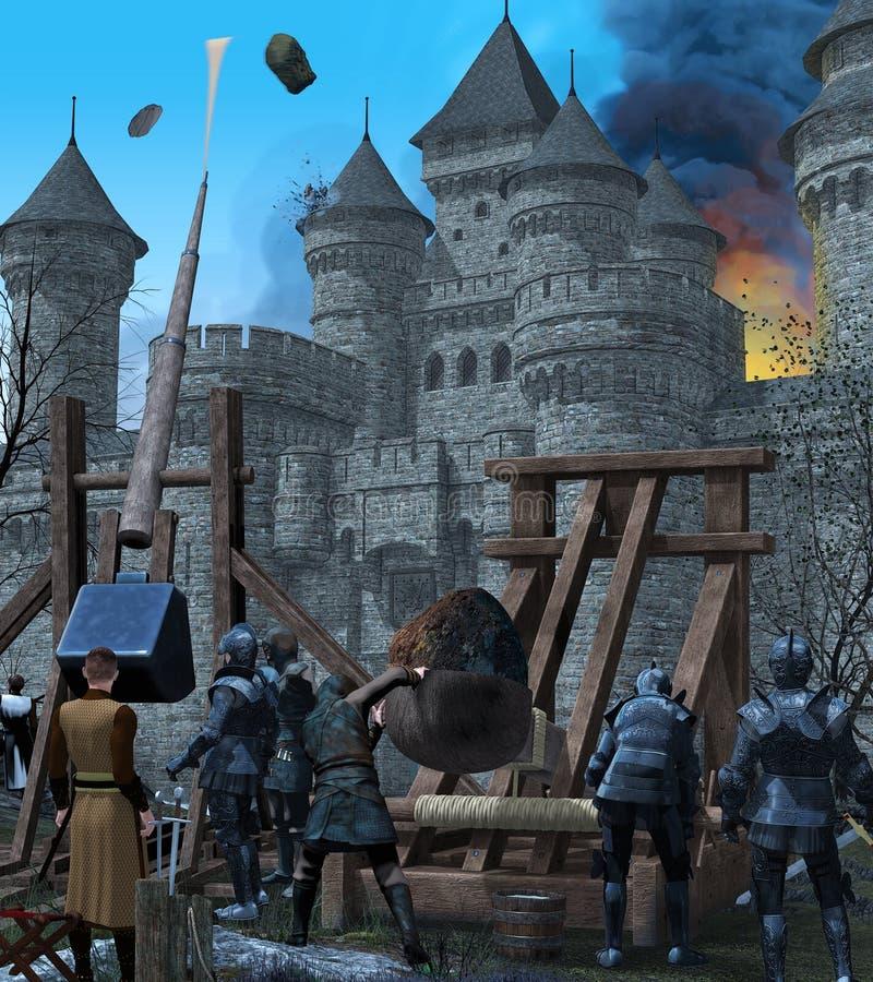 Middeleeuwse Kasteelstad onder Belegering vector illustratie