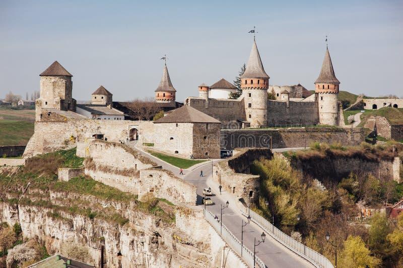 Middeleeuwse kasteelvesting kamenetz-Podolsk de Oekraïne stock foto