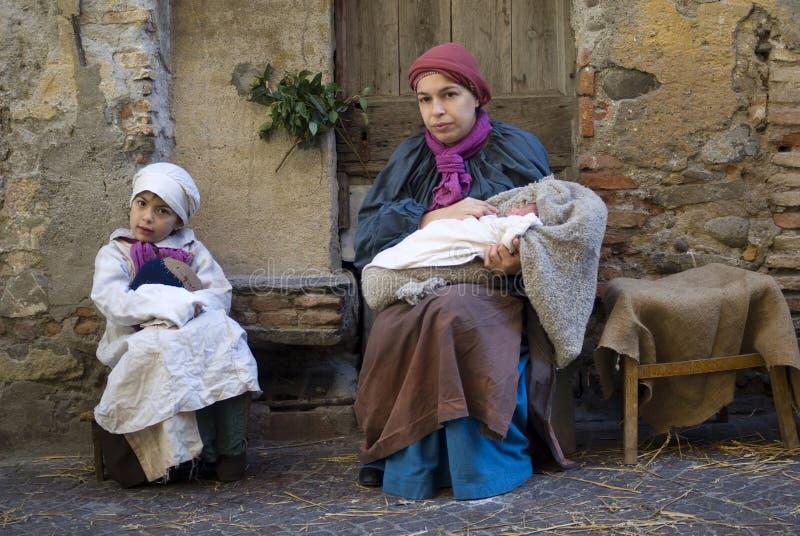 Middeleeuwse kostuumpartij stock foto