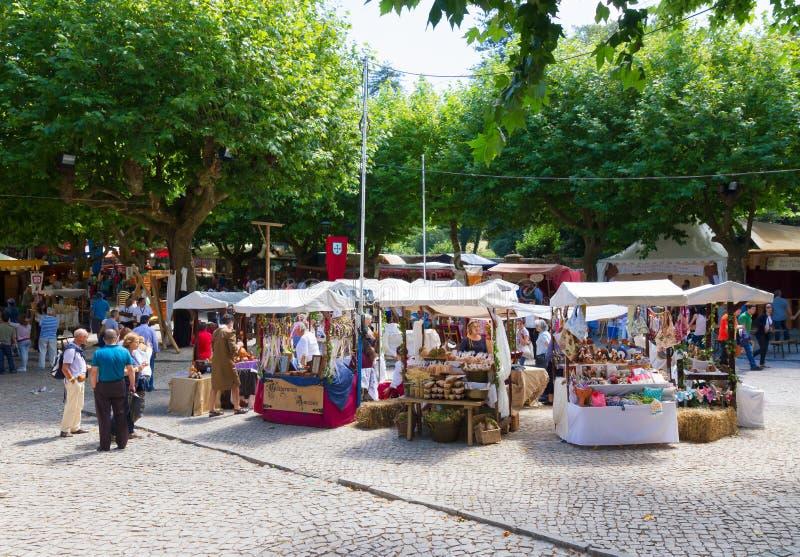 Middeleeuwse markt, Sintra, Portugal stock afbeelding