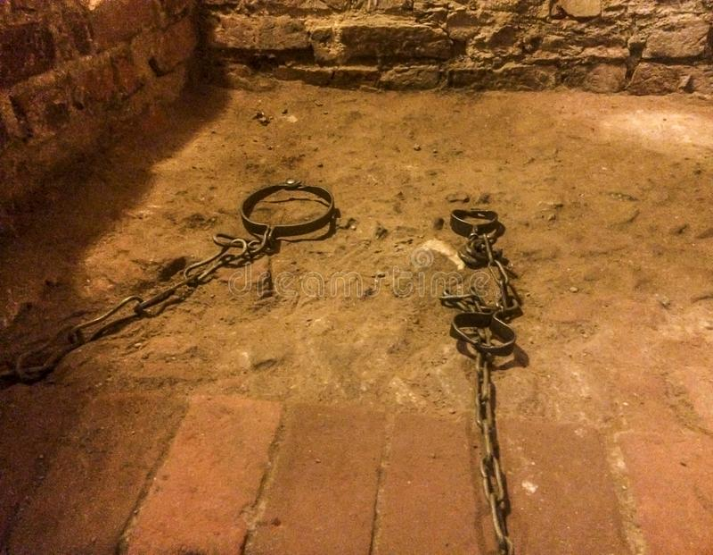 Middeleeuwse martelingskamer, gevangenis royalty-vrije stock afbeeldingen