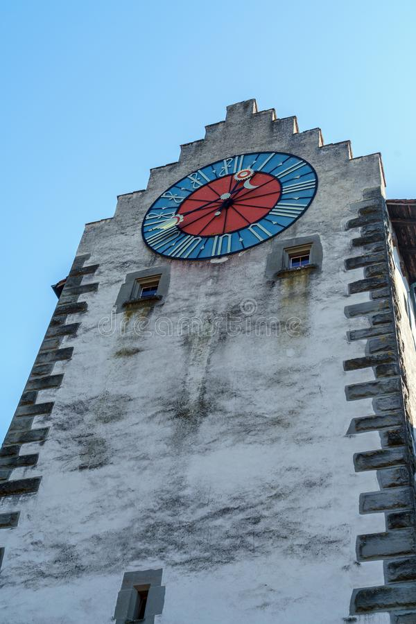 Middeleeuwse Muurklok op de toren, Stein am Rhein, Zwitserland royalty-vrije stock foto's